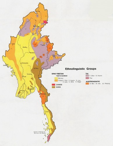 Répartition des principales ethnies du Myanmar (Birmanie)